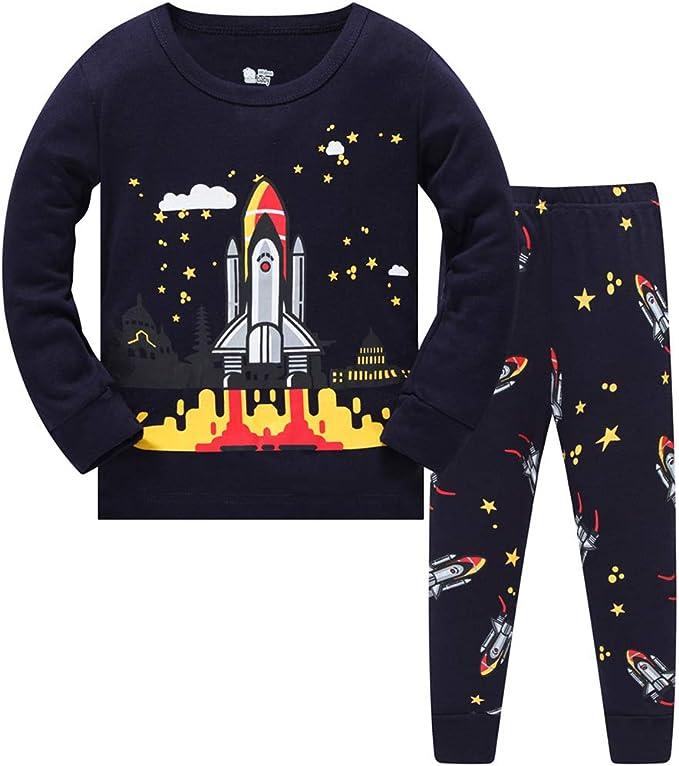 HIKIDS Pijama Niño Invierno-Pijama para Niños-Pijamas de Astronauta Cohete Planeta Excavador Tractor Coche Camión para Niños-Manga Larga Niño Ropa de algodón Traje Dos Piezas 3 4 5 6 7 8 Años: Amazon.es:
