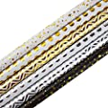 30 x 120 Inches Gift Wrapping Paper Roll - 6-Pack Decorative Wrapping Papers, All Occasion Gift Wraps for Birthdays, Valentines, Christmas, Baby Shower, Gold and Silver Foil Designs