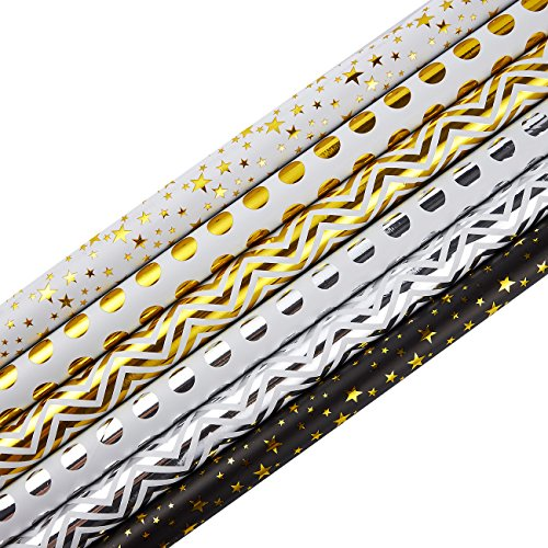 Gold Silver Foil - 30 x 120 Inches Gift Wrapping Paper Roll - 6-Pack Decorative Wrapping Papers, All Occasion Gift Wraps for Birthdays, Valentines, Christmas, Baby Shower, Gold and Silver Foil Designs, 2.5 x 10 Feet