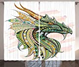 Cheap Ambesonne Celtic Decor Curtains, Head of Legend Dragon with Ethnic African Ornate Effects on Grunge Backdrop Myth Celtic Design, Living Room Bedroom Decor, 2 Panel Set, 108 W X 84 L Inches, Multi