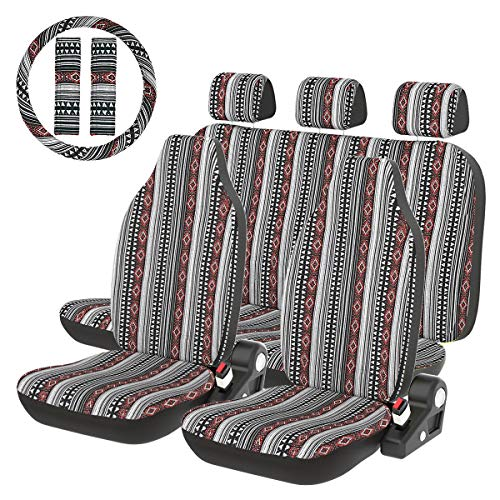 - INFANZIA Baja Blanket Car Seat Covers Saddle Seat Cover Full Set with Steering Wheel Cover & Seat Belt Covers Universal Fits Cars, Trucks, SUV, Vans, 10Pcs, Black & Red