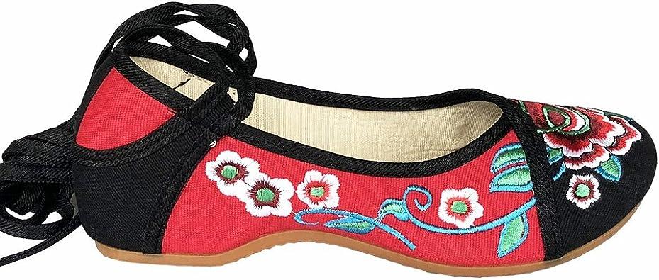 Fashion Chaussures Floraux Brodées Chinoises en Toile Mary Janes Ballerines Femme Compensées avec Modif Fleur