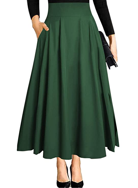 1950s Swing Skirt, Poodle Skirt, Pencil Skirts Black Maxi Skirts for Women Vintage Summer High Waisted A-line Long Flowy Skirt $25.99 AT vintagedancer.com