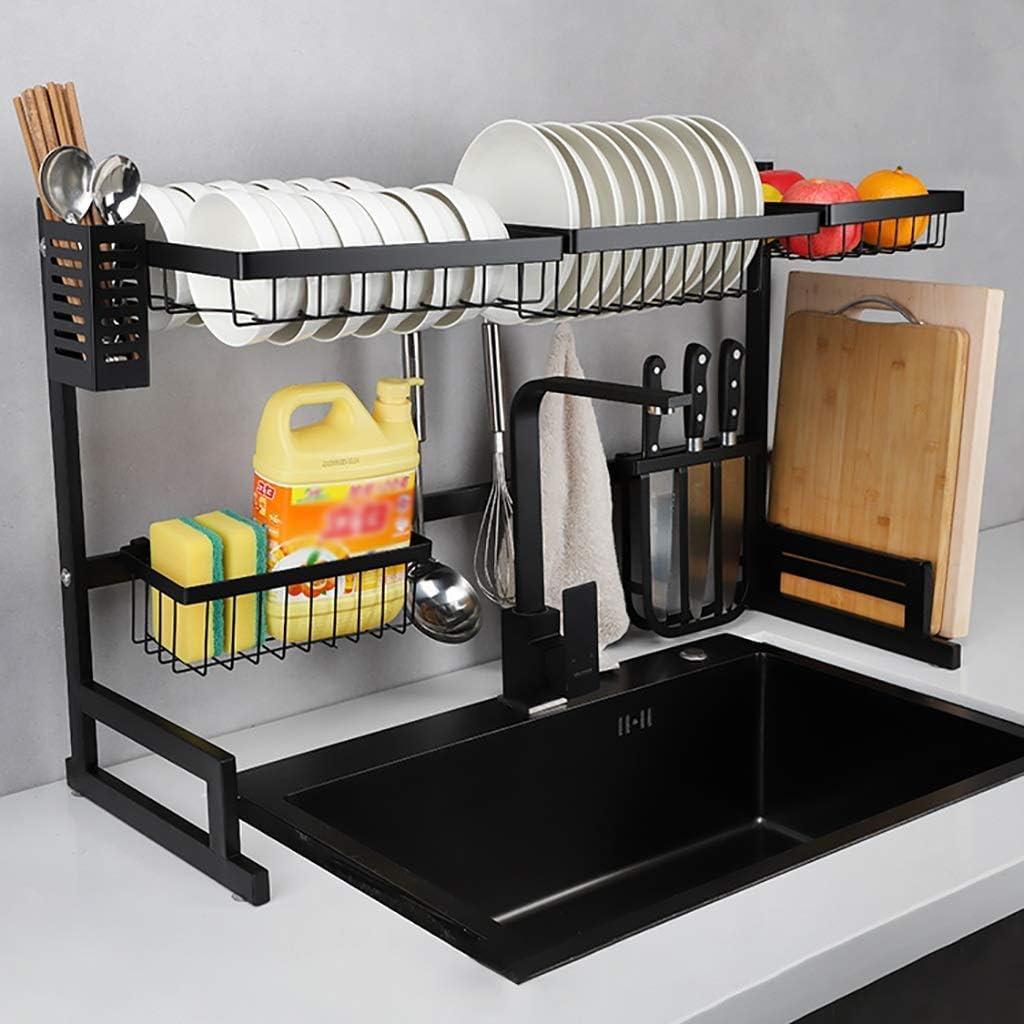 食器乾燥ラック、ステンレス製水切りディスプレイ棚、キッチン用品収納アクセサリーカウンタートップスペースセーバースタンド食器オーガナイザーと器具ホルダー