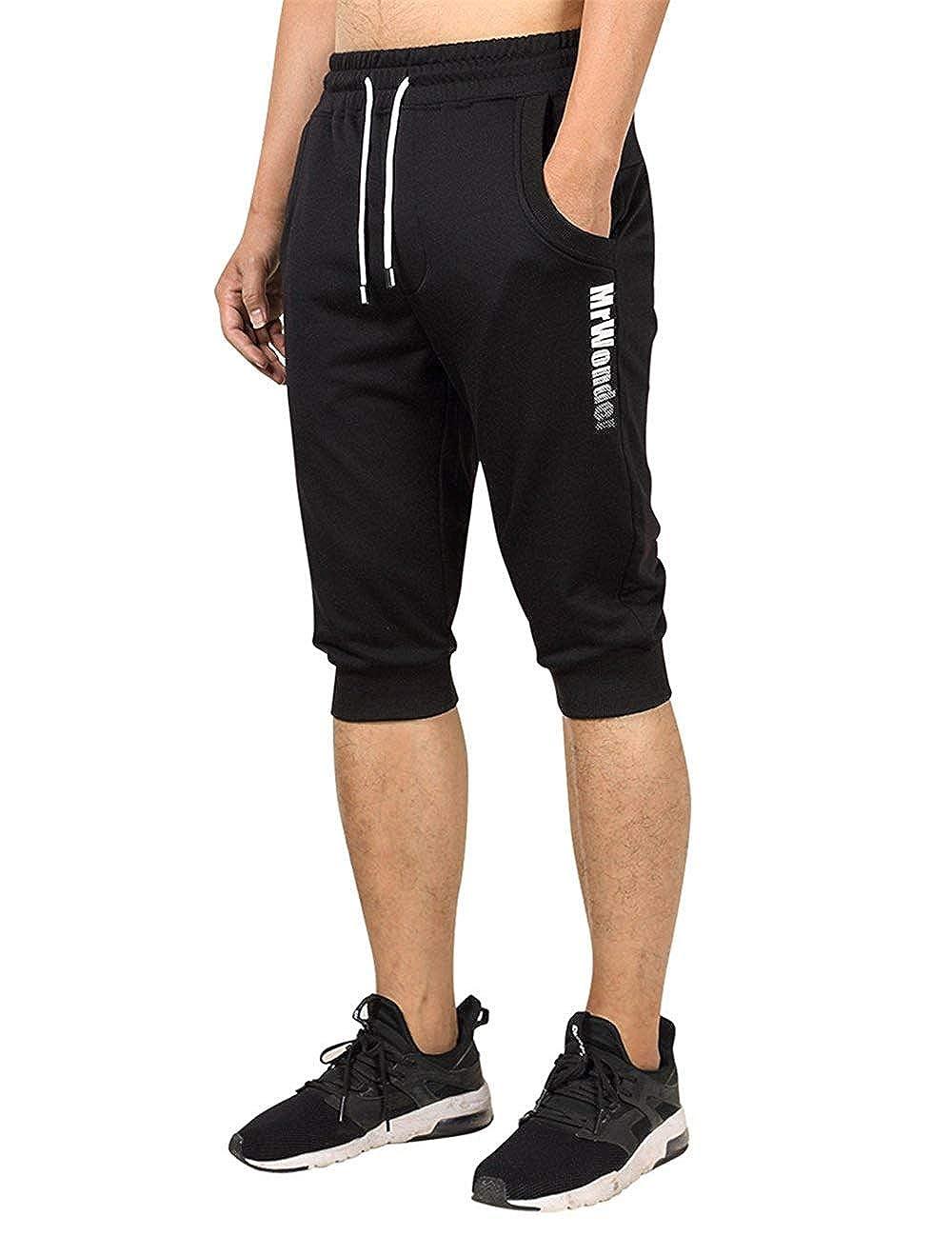 Black XXLarge Men Sport Jogging Short Pant Fit Elastic Casual Sportswear Slim Trouser