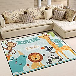ALAZA Cute Jungle Animal Lion Bird Monkey Area Rug Rugs Mat for Living Room Bedroom 7'x5'