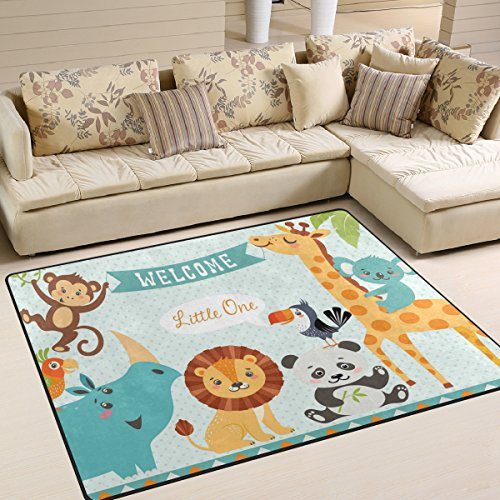ALAZA Cute Jungle Animal Lion Bird Monkey Area Rug Rugs for Living Room Bedroom 5'3 x 4' - Monkey Rug