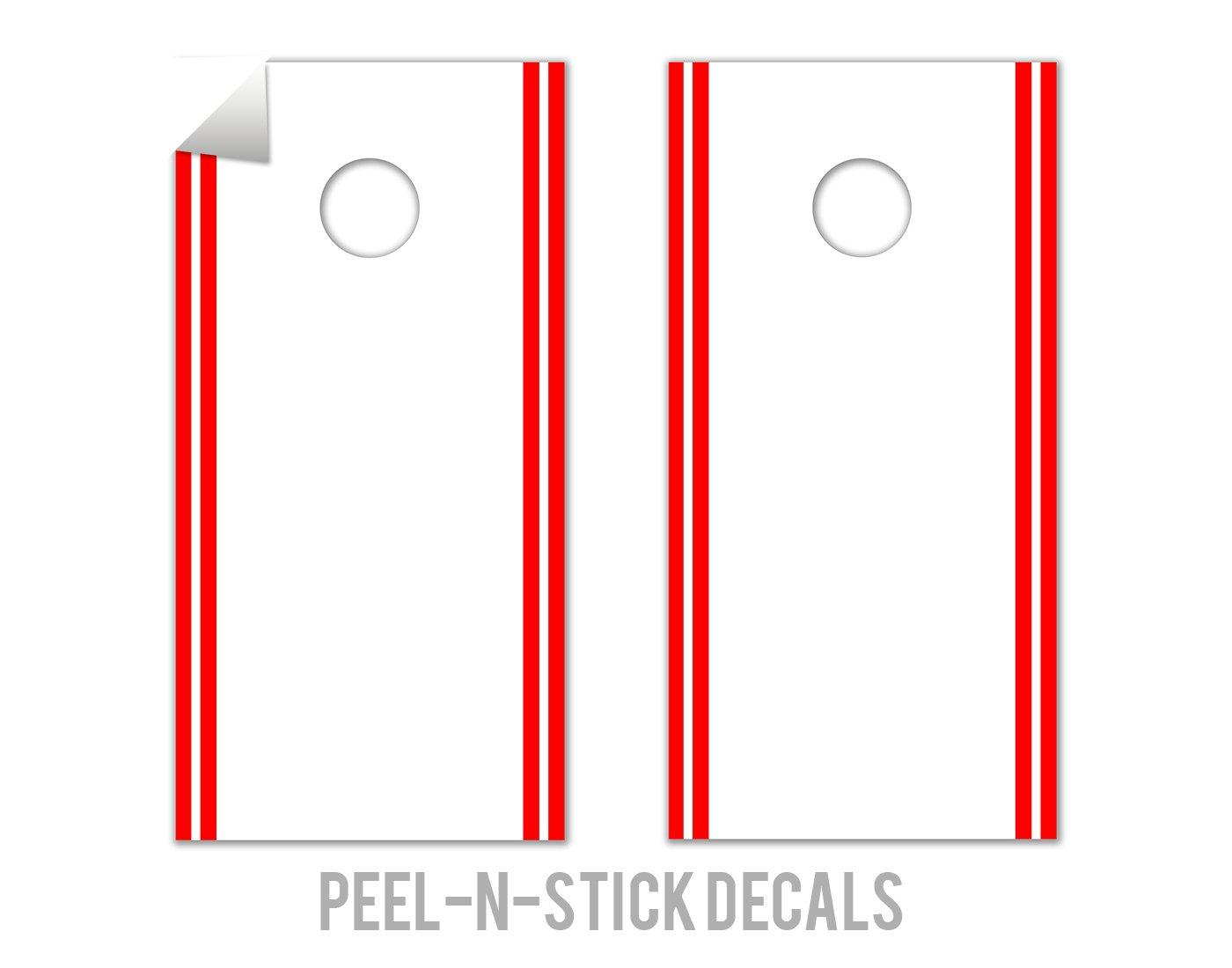 Classic Stripe Edge - White, Red - Cornhole Crew - ACA Regulation Size Cornhole Board Decals