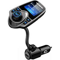 VicTsing Bluetooth FM Transmitter, Wireless In-Car Radio Transmitter Adapter /w USB Port, Support AUX Input 1.44 Inch…
