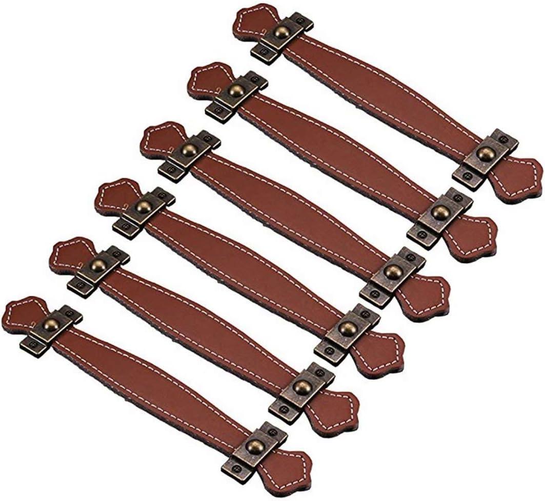 fbshop (TM) Retro estilo Learther tiradores de cajón/pomos/asas/para maletín maleta vino caja de madera armario Shoebox armario muebles Hardware, marrón, Hole distance:128mm