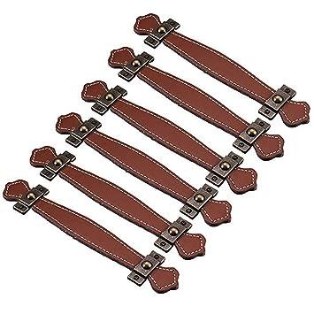 fbshop (TM) Retro estilo Learther tiradores de cajón/pomos/asas/para maletín maleta vino caja de madera armario Shoebox armario muebles Hardware, marrón, ...