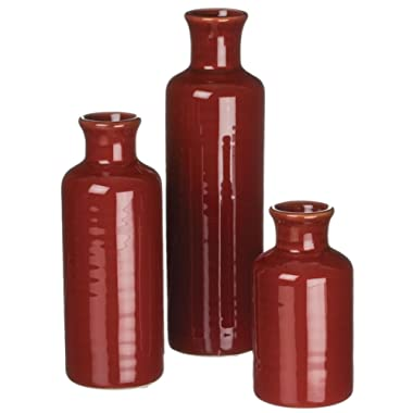 Sullivans Set of 3 Assorted Sizes Deep Red Vase