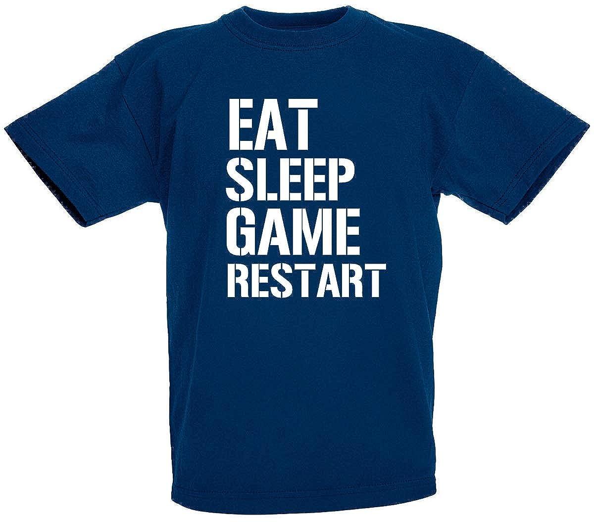loltops Eat Sleep Game Restart Novelty T-Shirt for Boys, Teens