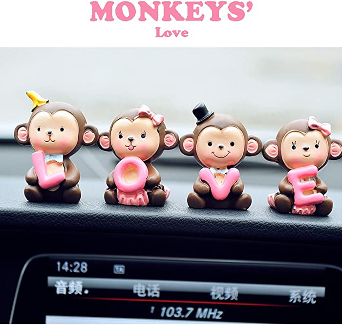INEBIZ Creative Cute Monkeys Love Dashboard Decorations Car Home Office Ornaments Best Birthday