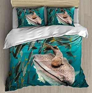 XZBLCMWYBYYYQ up Close with a Whale Shark Water Monsters and Pictures Bedding Duvet Cover Setting Duvet Cover with Pillowcases King Bedding Sets for Kids and Family Home Decor Soft Comfy Simple