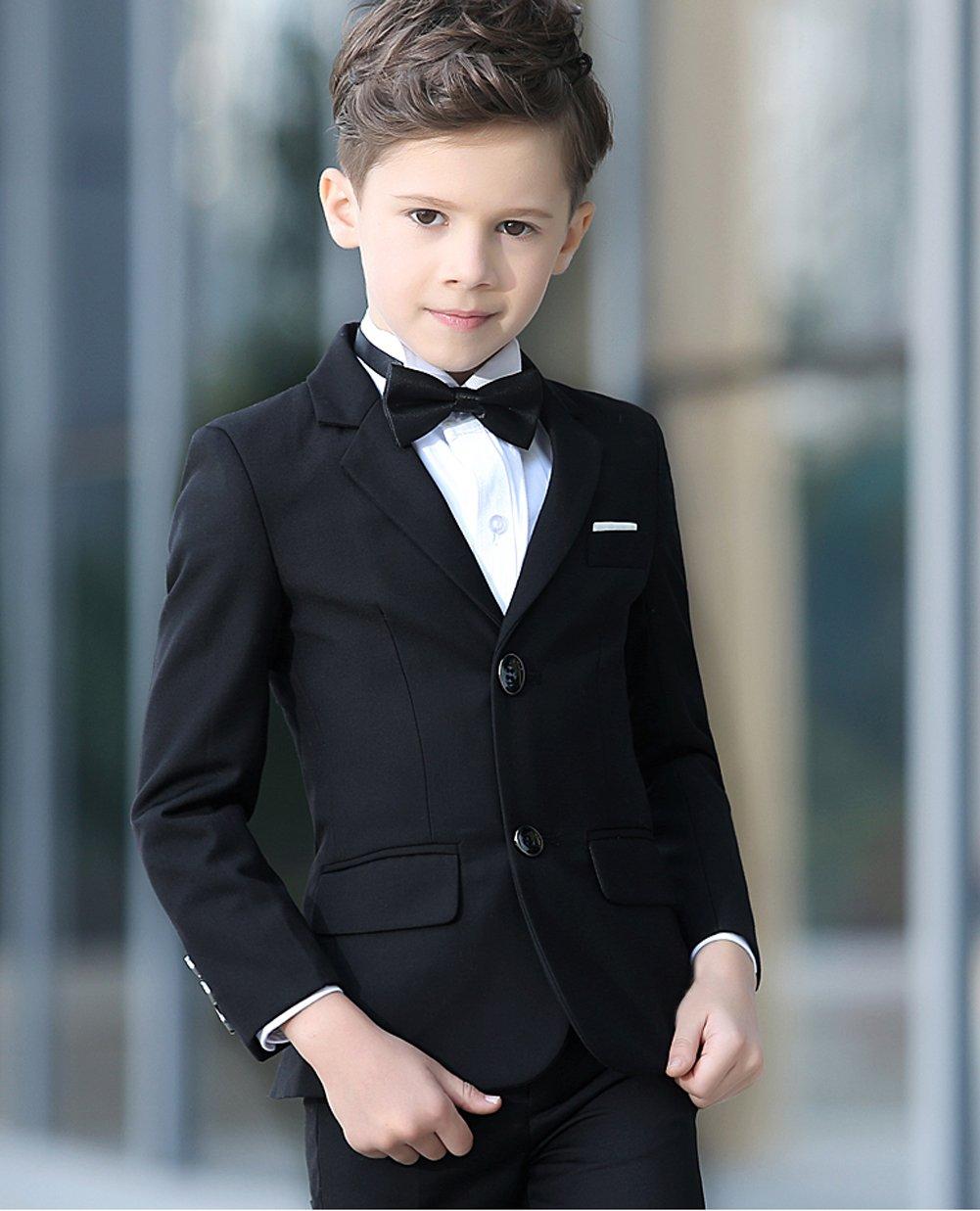 YuanLu Boys Colorful Formal Suits 5 Piece Slim Fit Dresswear Suit Set (Black, 14) by YuanLu (Image #5)
