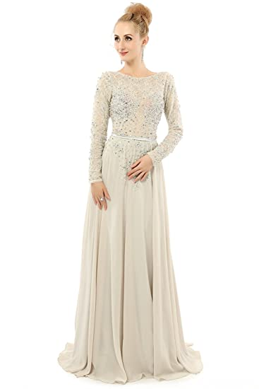 Review YuNuo Women's Sexy Backless A-Line Long Sleeves Beaded Prom Evening Dress