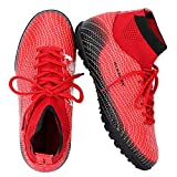 ALEADER Youth/Kids Indoor Football Shoes Boots for Artificial Ground Training Soccer Trainers Red/Black