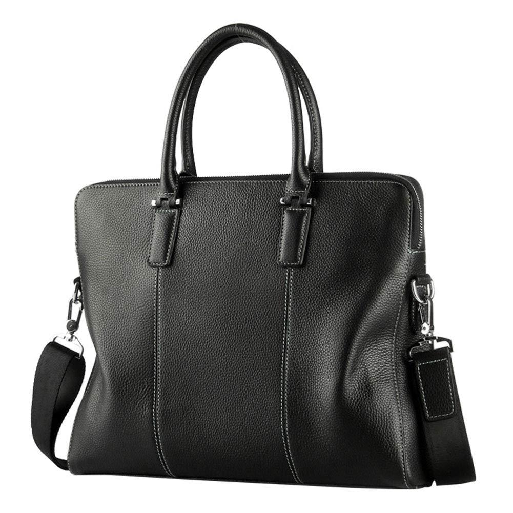 メンズビジネスブリーフケース、ファッションレザーショルダーバッグ、トレンディトート、クロスボディバッグ、ラップトップバッグ(ブラック) B07SSW89M9