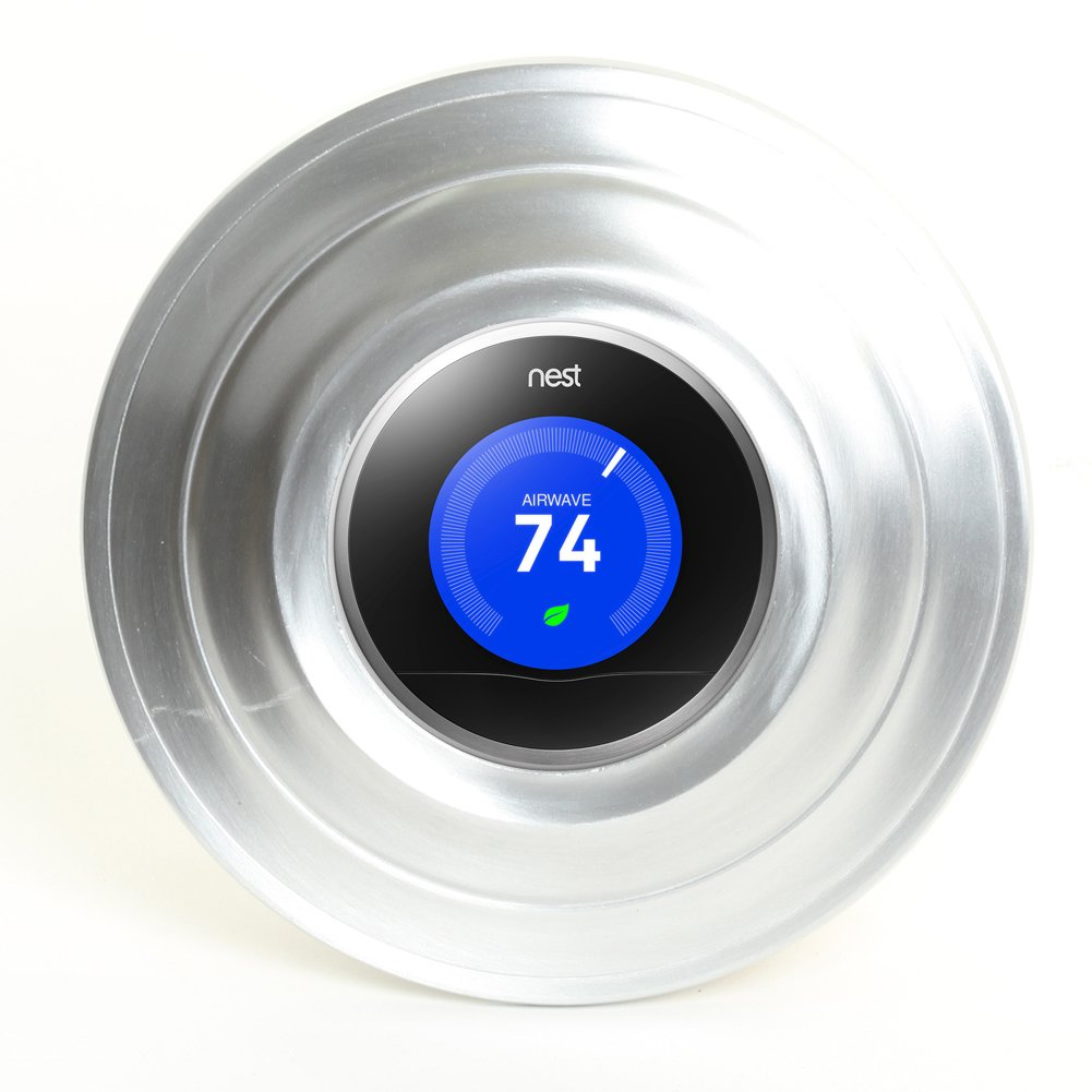 Koyal Wholesale Metal Thermostat Trim Plate for Nest, Wall Plate (Round 7'', Aluminum Matte Silver)