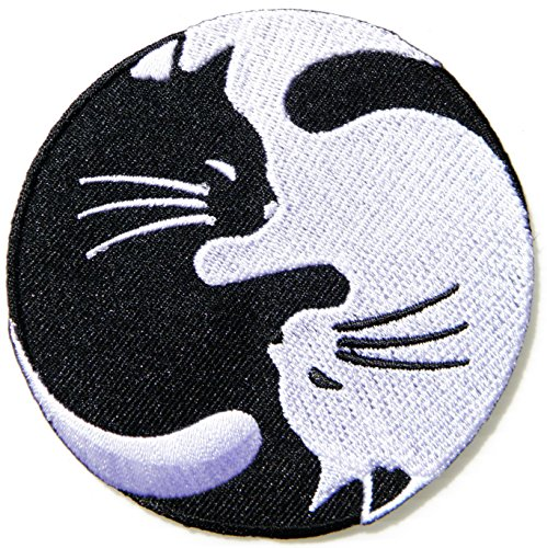 Cat Kitty Dragon Yin Yang Kung Fu Teak Wan Do Tatoo Logo Back Jacket T-shirt Patch Sew Iron on Embroidered Sign Badge Costum - For Dry Indoors Sunglasses Eyes