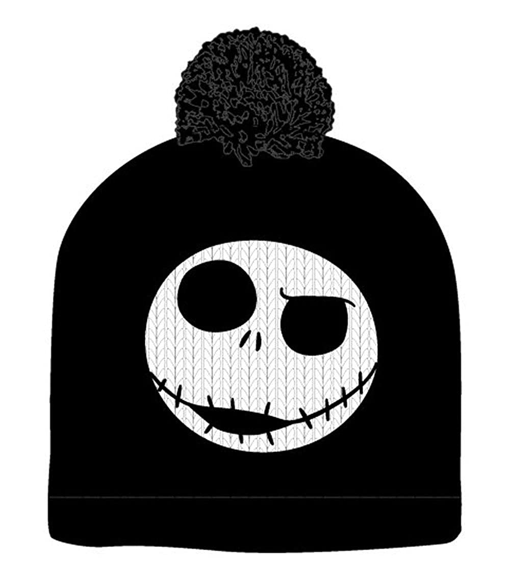 The Nightmare Before Christmas Jack Skellington Pompom Black Beanie Winter Hat BioWorld