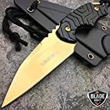 New GOLD TACTICAL COMBAT NECK iCareYou Knife FULL TANG Survival Hunting Fixed Blade w Sheath