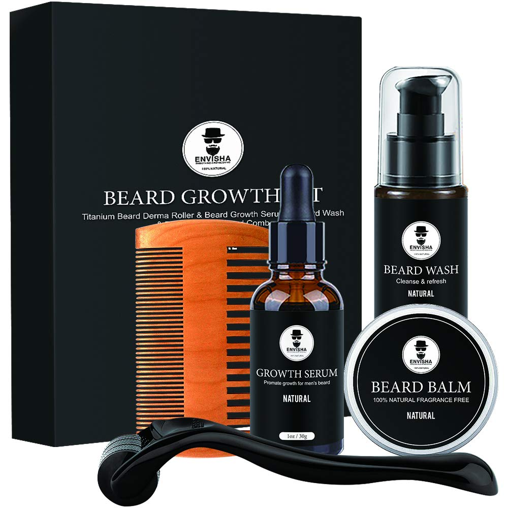 Amazon Com Envisha Beard Grooming Kit Ultimate Beard Growth Oil For Men Facial Hair Growth Kit With Beard Balm Beard Conditioner Wood Beard Comb For Styling Beauty