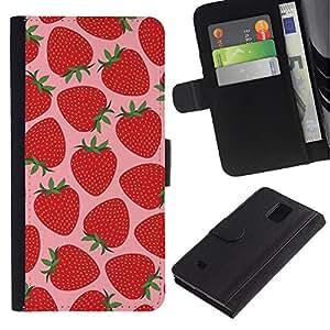 KLONGSHOP / Tirón de la caja Cartera de cuero con ranuras para tarjetas - Sun Pink Berries - Samsung Galaxy Note 4 SM-N910