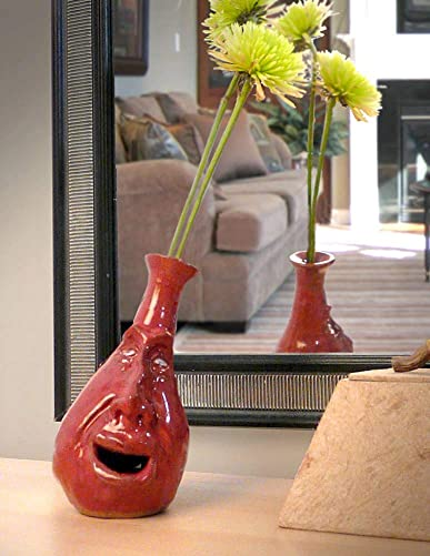 Modern Artisans Whimsical Face Vase, Handcrafted Stoneware Pottery 4.5 Bud Vase – Red Version