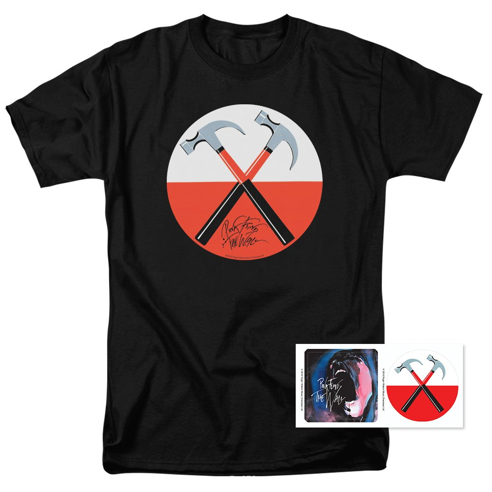 Pink Floyd The Wall Crossed Hammers Rock T Shirt & Exclusive Stickers (XXX-Large)
