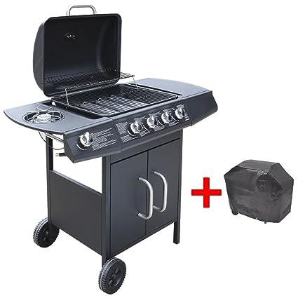 Barbacoa Grill de Gas 4+1 quemadores Negra Electrodomésticos de Cocina Adecuada para Gas: