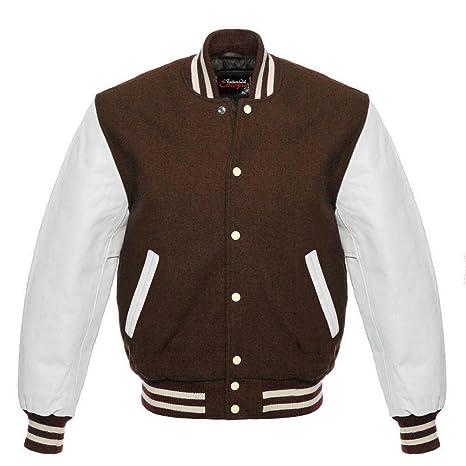 Fashion Club Pour homme Varsity Cuir véritable laine Letterman Veste Marron  W cuir Blanc manches (  Regular)  Amazon.fr  Auto et Moto d618737b4125