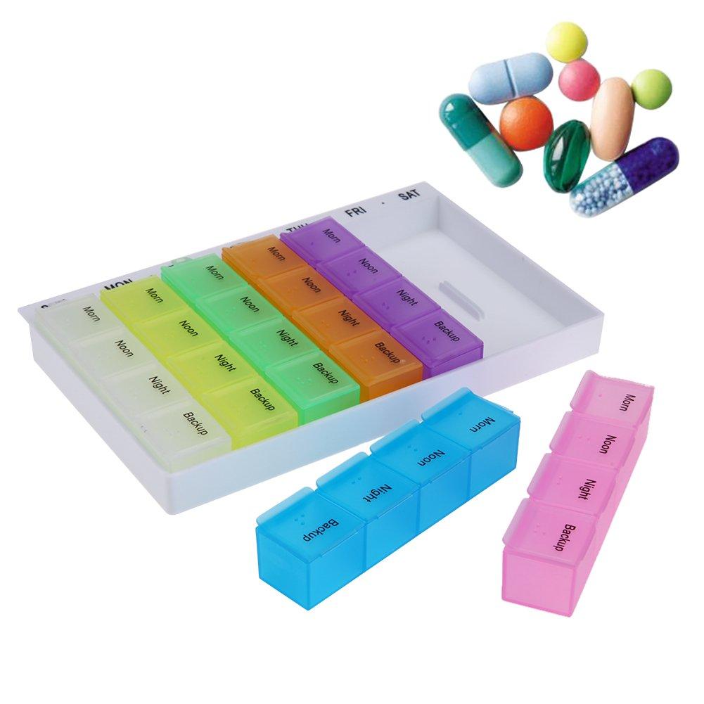 28 Compartimentos Starnearby Caja de Aparejos de Pesca Caja de Almacenamiento para Pastillas Soporte de Medicina. 7 d/ías Tableta
