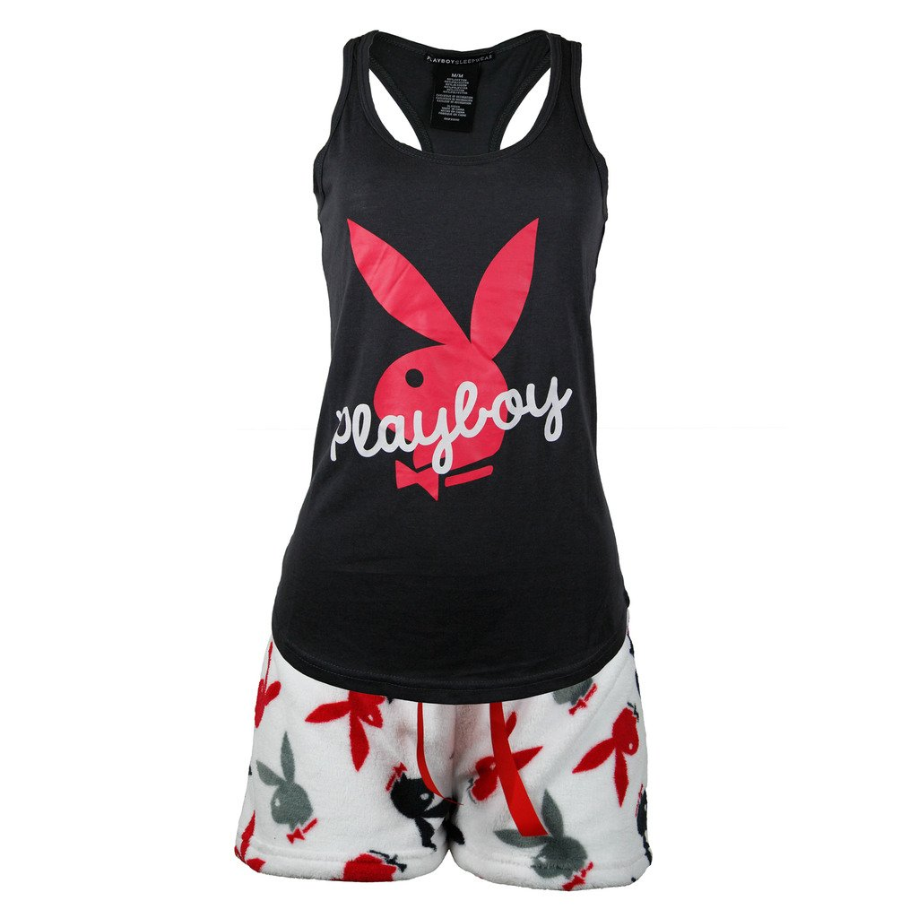 Playboy Sleepwear Womens Racer Back Top and Fleece Shorts Set