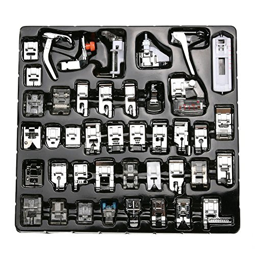 Gimiton 42pcs Sewing Machine Presser Feet Kit, Sewing Machine Walking Presser Foot Set for Brother, Babylock, Singer, Janome, Elna, Toyota, New Home, Simplicity, Necchi, Kenmore, and White Low Shank S