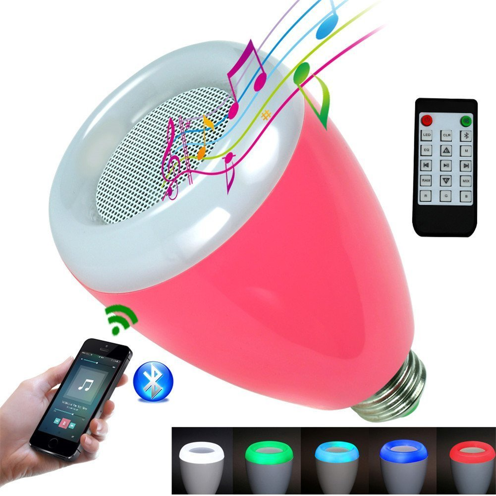 LED Light Bulb,Wireless Bluetooth Dimmable Liamp Bulb Speaker, E27 Base RGB Multicolor Changing LED Music Smart Bulb Lamp for iPhone, iPad and Android Phone. (Pink) by Carvesky