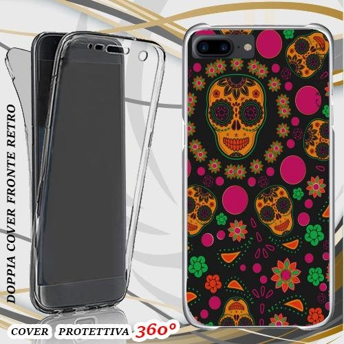 CUSTODIA COVER CASE SKULL PATTERN PER IPHONE 7 PLUS FRONT BACK