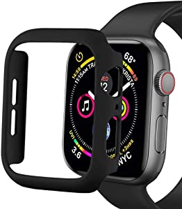 Sunkeyou Matte Hard Case for Apple Watch Series 6/SE/5/4 40mm 44mm, Series 3/2 38mm 42mm Ultra-Thin Protector Accessories Lightweight Bumper for Women Men iWatch(Black,44mm Series 4/5/6/SE)