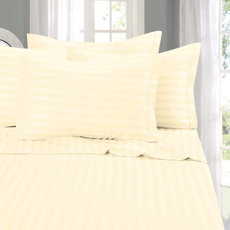Elegant Comfort 1500-Thread-Count Microfiber California King Stripe Sheet Set, White 79RW- Stripe Cali K White