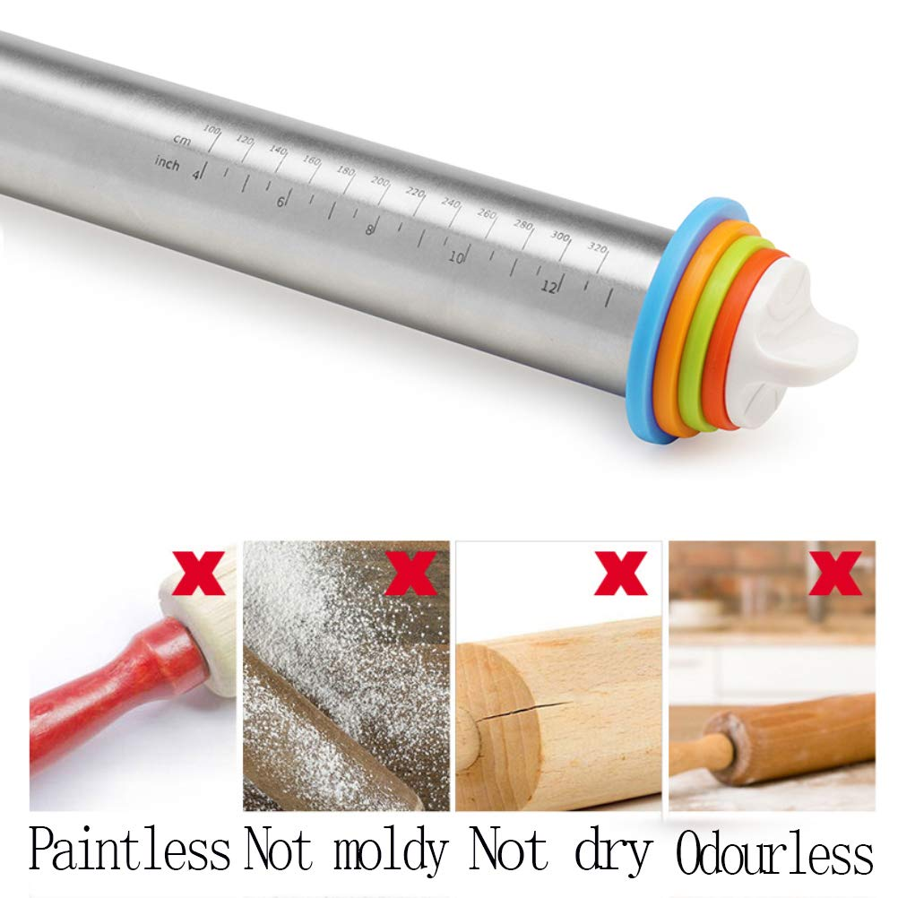 Stainless Steel Roller Non-Stick Rolling Pin Making Dough Pizza Baking Kitchen L