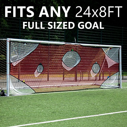 QuickPlay PRO Soccer Goal Target Nets with 7 Scoring Zones – Practice Shooting & Goal Shots (24 x 8')