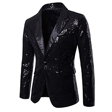 115bf8cd MAGE MALE Men's Shiny Sequins Suit Jacket Blazer One Button Tuxedo for Party ,Wedding,