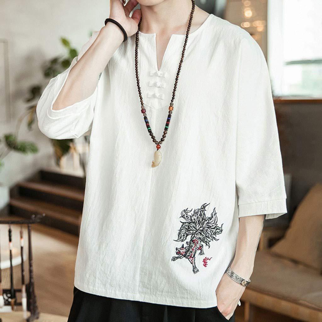 Beautyfine Mens Linen Cropped Sleeve Embroidered Three Quarter Sleeve T-Shirt Top