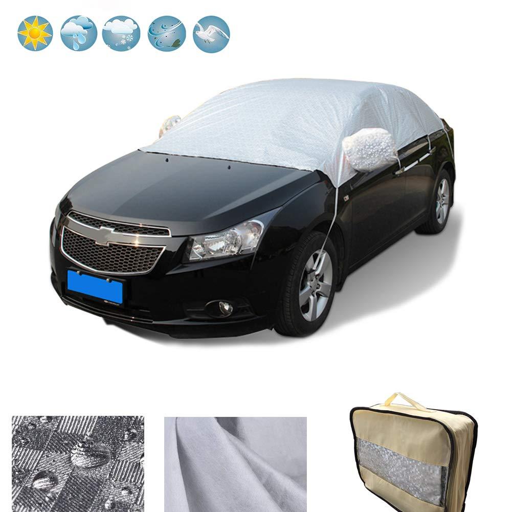 RunSnail Autoplane Schnee Autoabdeckung Winter, Frostschutz, Regenabweisend & Windsicher Plane Windschutzscheibe Abdeckung