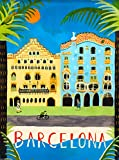 Barcelona Spain Spanish European Europe Vintage Travel Advertisement Art Poster Print. Poster measures 10 x 13.5 inches