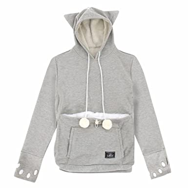 b2db7d9cf71 Amazon.com  UNIHABITAT Women s Mewgaroo Pet Holder Hoodie - Cat Ear  Sweatshirt - Gray - XXL  Clothing