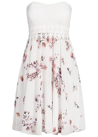 violet Fashion Damen Bandeau Kleid Blumen Muster Brustpads