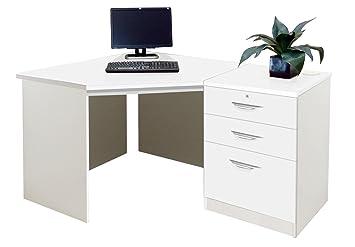Home Office Furniture UK Drawer Desk Filing Cabinet Living Room Corner Table  Set, Wood,