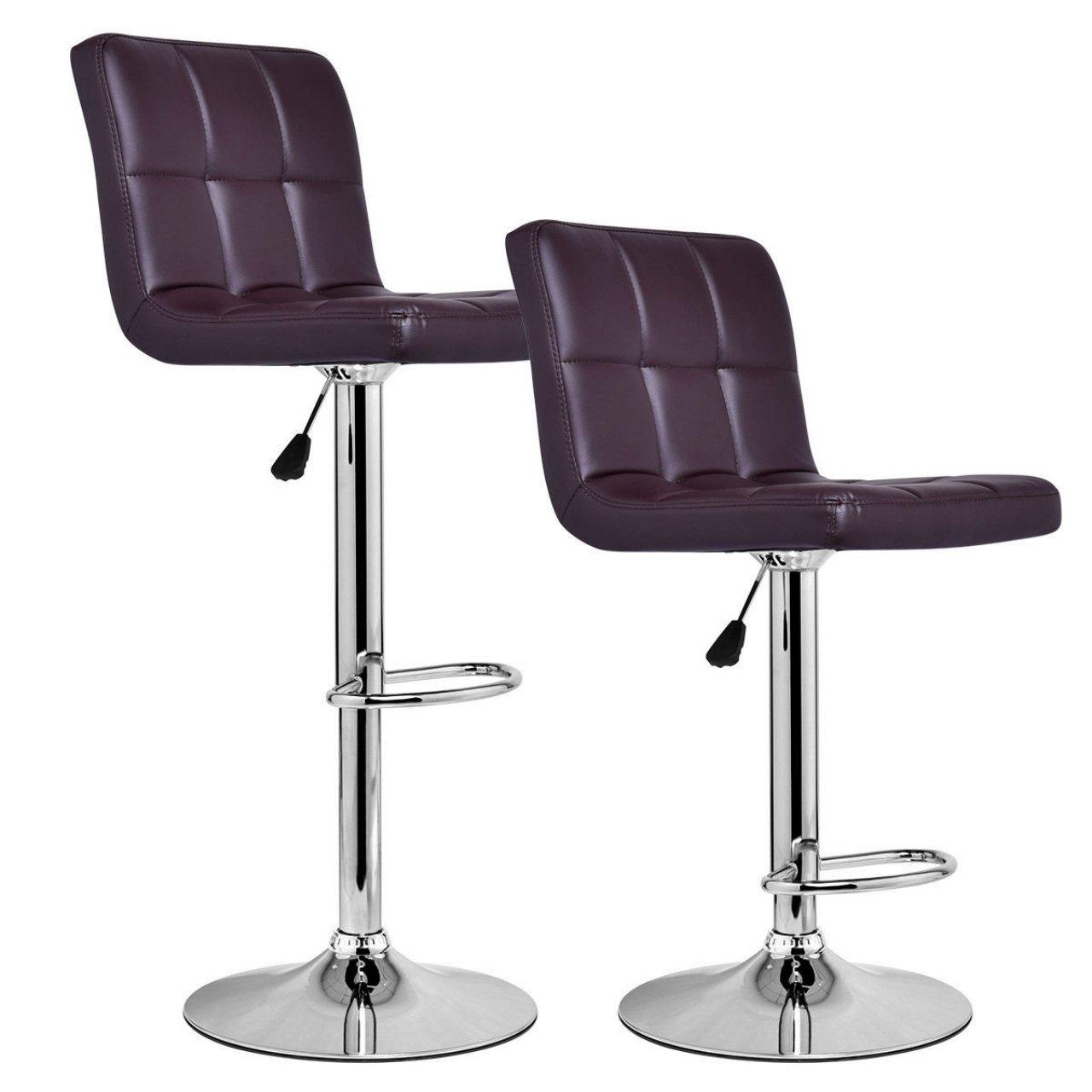 Set Of 2 Bar Stools Anti-aging PU Leather Adjustable Barstool 360 Degree Swivel Pub Style Comfortable Backrest/Brown #825